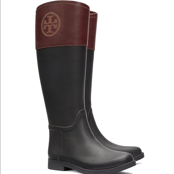 f366150be59 Women s Tory Burch Black and Brown Rain Boots. M 5a445a785512fd7fbf0b5f8a